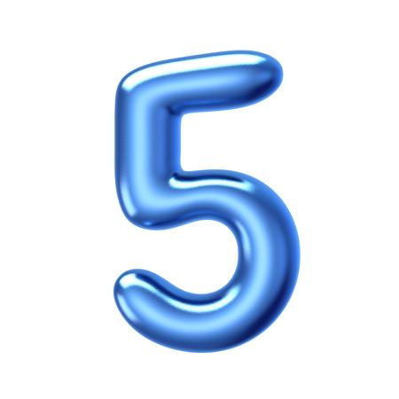 3D render liquido gelatina blu numero 5 su sfondo bianco