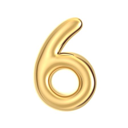 3D render golden foil number 6 on white background Stock Photo
