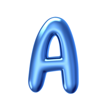 3D render blue jelly liquid alphabet A isolated on white background