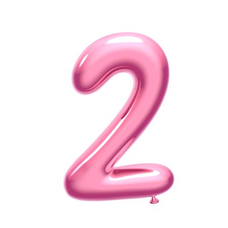 3D render globo rosa número 2 sobre fondo blanco.