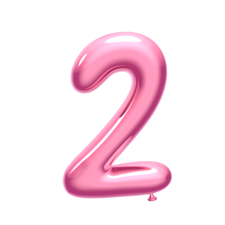 3D render różowy balon numer 2 na białym tle