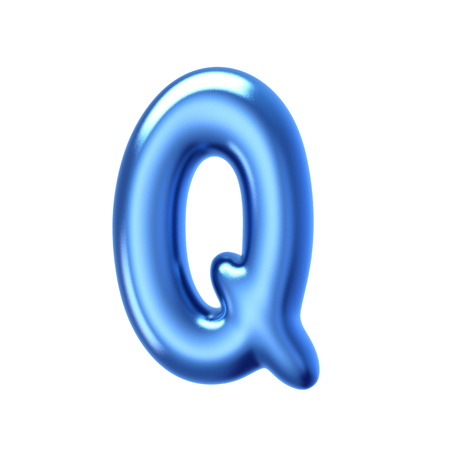 3D render blue jelly liquid alphabet Q isolated on white background Stock Photo