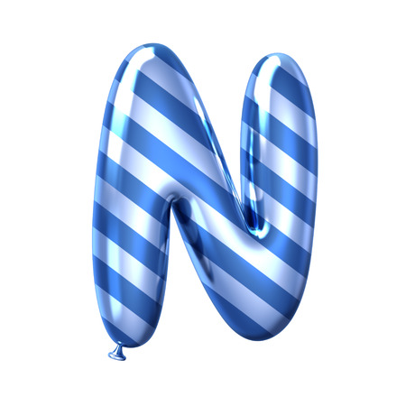 3D render blue stripe balloon alphabet N isolated on white background Banco de Imagens