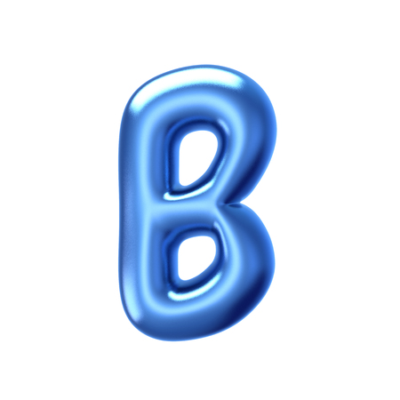 3D render blue jelly liquid alphabet B isolated on white background