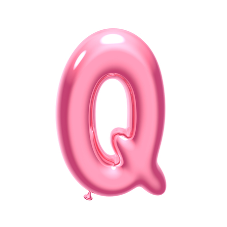 3D render pink balloon alphabet Q isolated on white background