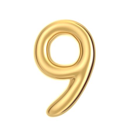 3D render golden foil number 9 on white background
