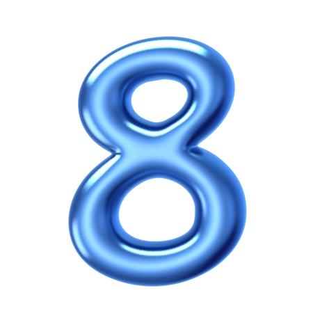 3D render liquido gelatina blu numero 8 su sfondo bianco