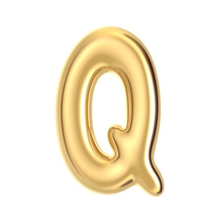 3D render golden foil alphabet Q isolated on white background Stock Photo