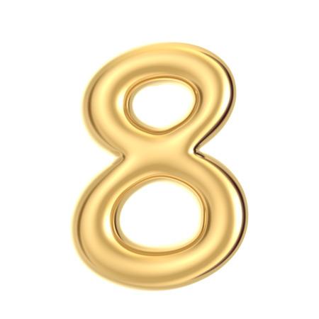 3D-Render goldene Folie Nummer 8 auf weißem Hintergrund Standard-Bild