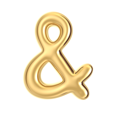 3D golden color foil balloon ampersand mark isolated on white background
