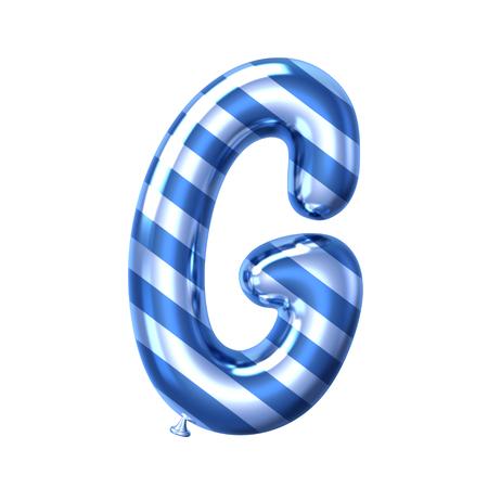 3D render blue stripe balloon alphabet G isolated on white background Standard-Bild - 121620988