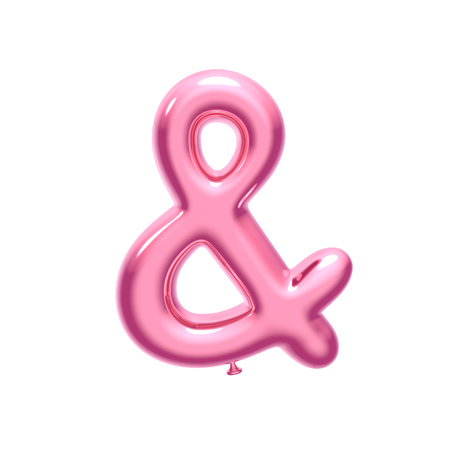 3D pink foil balloon ampersand mark isolated on white background