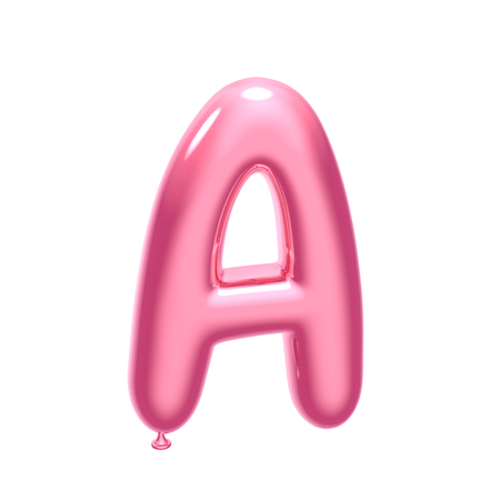 3D render pink balloon alphabet A isolated on white background