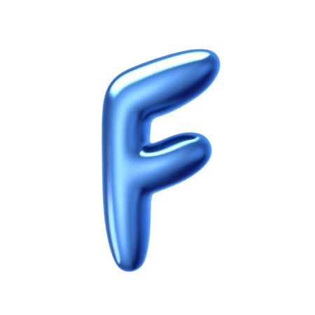 3D render blue jelly liquid alphabet F isolated on white background