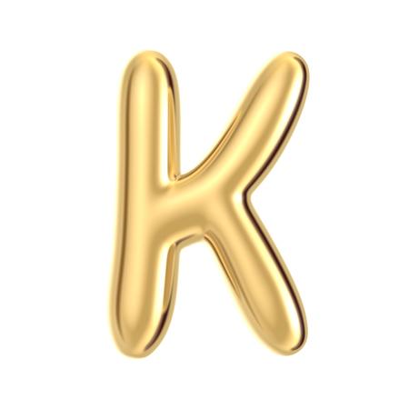 3D render golden foil alphabet K isolated on white background Reklamní fotografie