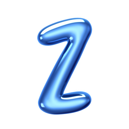 3D render blue jelly liquid alphabet Z isolated on white background