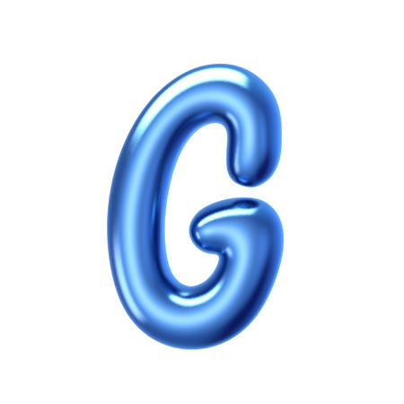 3D render blue jelly liquid alphabet G isolated on white background Stock Photo