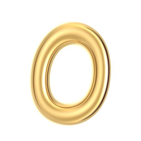 3D render golden foil number 0 on white background Stock Photo