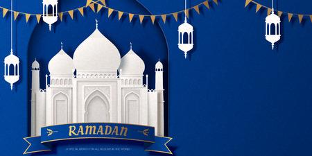 Ramadan white mosque and fanoos paper art design 写真素材 - 122567813