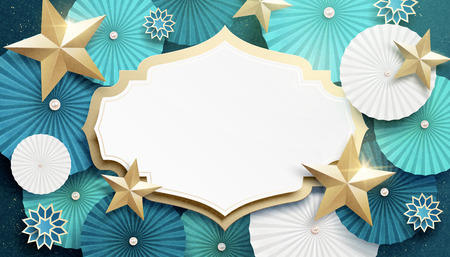 Turquoise round paper fan and star background with copy space