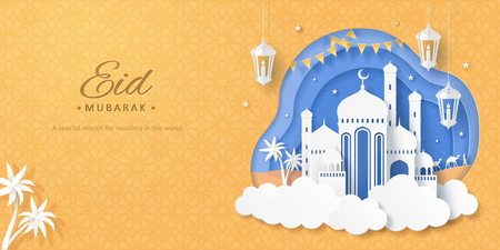 White mosque upon the cloud on chrome yellow background in paper art style 写真素材 - 122568765