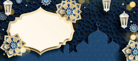 Blue arabesque flower and mosque background in paper art style