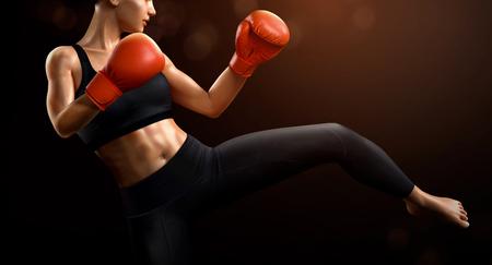 Boxeadora con guantes de boxeo rojos en ilustración 3d