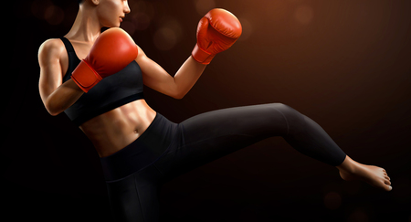 Female boxer with red boxing gloves in 3d illustration