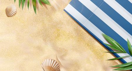 Letnia plaża z widokiem z góry z tropikalnymi roślinami i pasiastym kocem na ilustracji 3d