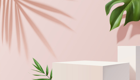 White square stage with tropical plants on pink background in 3d illustration Archivio Fotografico - 124177293