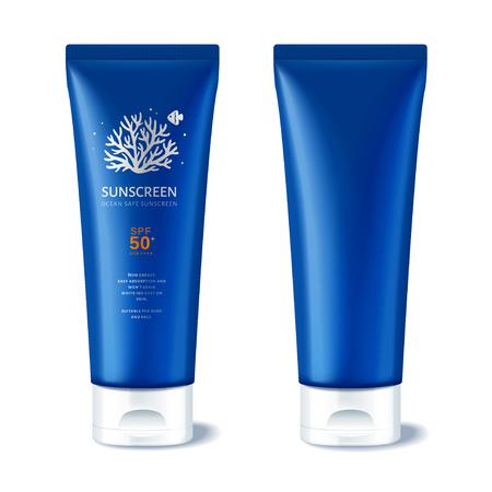 Ocean safe sunscreen plastic tube Illustration