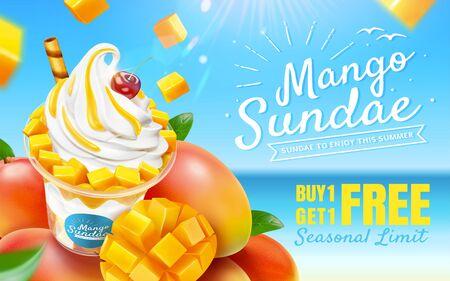 Delicious mango sundae ads with fresh fruit on bokeh beach background in 3d illustration  イラスト・ベクター素材