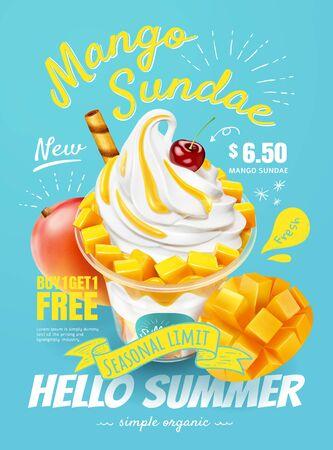 Délicieuses annonces d'affiches de sundae à la mangue avec des fruits frais en illustration 3d