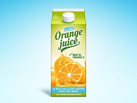 Orange juice paper carton in 3d illustration