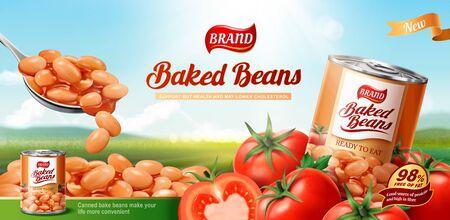 Anuncios de frijoles horneados con tomates frescos sobre fondo de naturaleza bokeh en ilustración 3d
