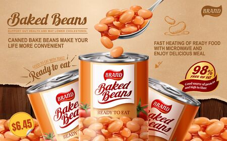 Baked beans tin ads on torn paper and wooden table background, 3d illustration