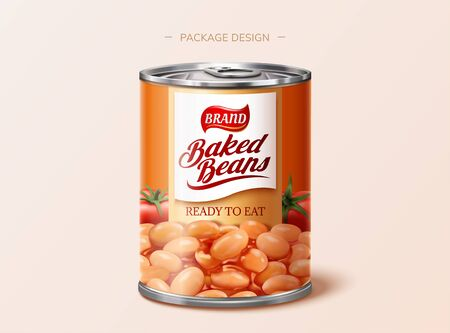 Baked beans tin package design in 3d illustration