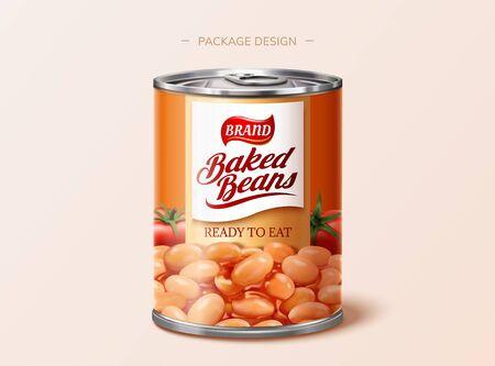 Diseño de paquete de lata de frijoles horneados en ilustración 3d Ilustración de vector