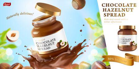 Schokoladen-Haselnuss-Werbung mit spritzender Flüssigkeit auf Bokeh-Glitzer-Naturhintergrund in 3D-Darstellung