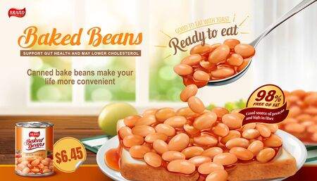 Baked beans on toast ads with bokeh interior background in 3d illustration