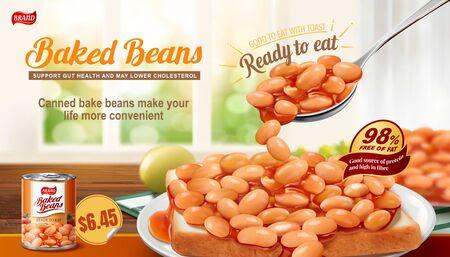 Frijoles horneados en anuncios de tostadas con fondo interior bokeh en ilustración 3d