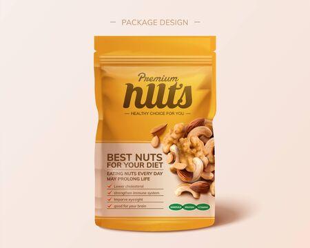 Conception de paquet de noix intégrées de qualité supérieure en illustration 3d sur fond rose
