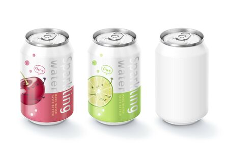 Sparkling water package design in fruit flavor 3d illustration 矢量图像