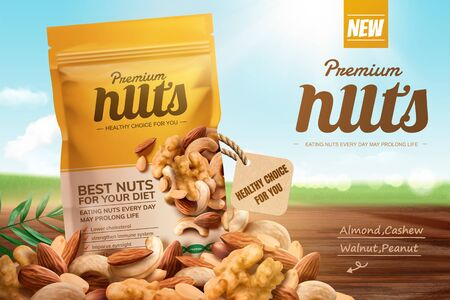 Premium nuts ads on bokeh blue sky and wooden table in 3d illustration Ilustração