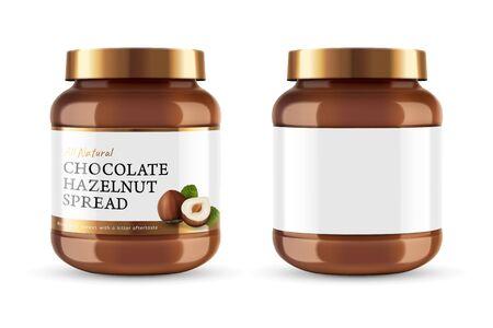 La crema di cioccolato può barattolo con il design dell'etichetta nell'illustrazione 3d
