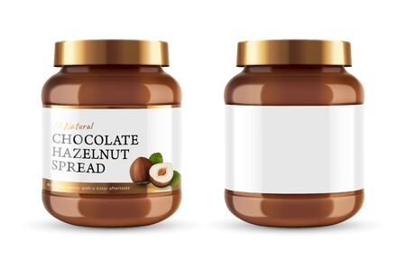 Chocolate spread can jar with label design in 3d illustration