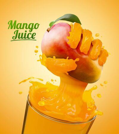 Reklamy soku z mango z efektem płynnej ręki chwytającej owoce ze szklanego kubka na ilustracji 3d