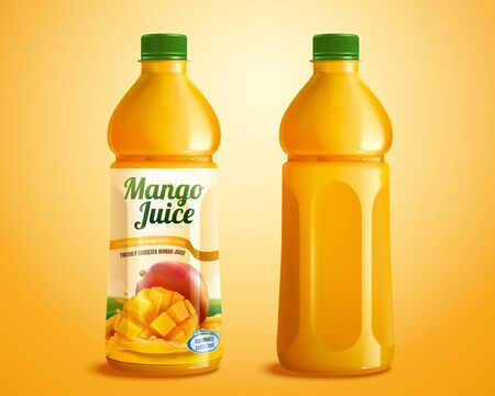 Mango juice product mockup with designed label in 3d illustration