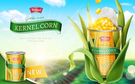 Premium kernel corn can ads in 3d illustration on bokeh green field background