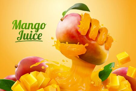 Mango juice ads with liquid hand grabbing fruit effect in 3d illustration